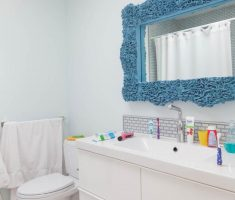 charming mirror for kids bathroom with carving edge