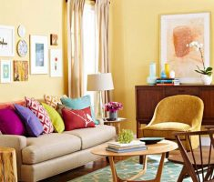 charming small space decoration with small sofa and colors of chusion pillow
