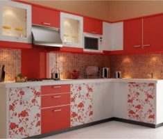 charming orang and white cabinet kitchen design