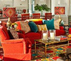 cheerful bohemian interior design ideasfor living room
