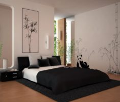 classic simple black bedroom decorating ideas with white bed