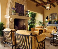 classic tuscan style home interior living area