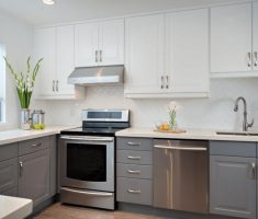 clean and bright white cabinet kitchen design u shaped