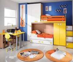 colorful boy room ideas small spaces with yellow and orange