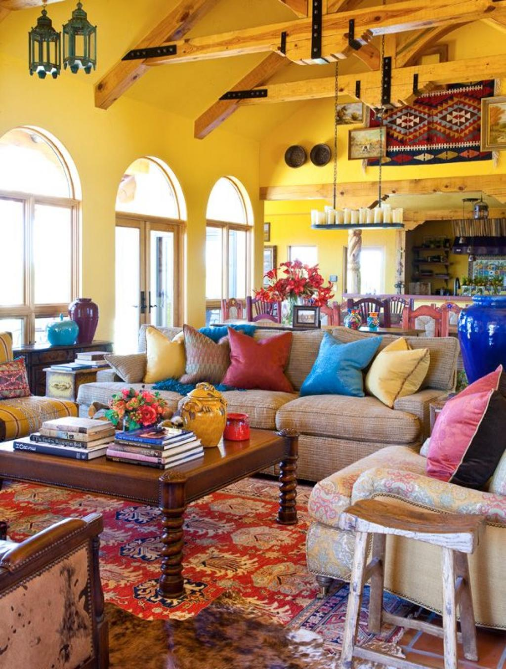 28 alluring contemporary mexican interior design ideas for Colorful living room sets