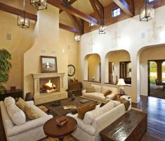 comfortable mediterranean style homes interior with fireplace