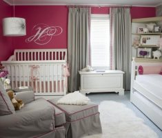 comfortable nursery baby girl rooms grey and pink colors theme with grey curtain