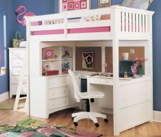 compact girls white bedroom furniture with study table