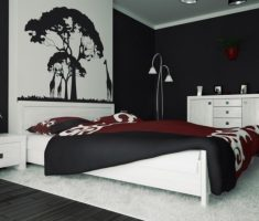 cool black and white bedroom with silluet wallpaper