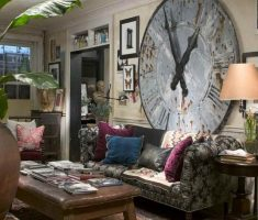 cool bohemian interior design ideas with big clock wall decor