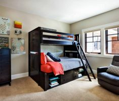 cool glossy black boy room ideas with bunk beds with storage for saving space