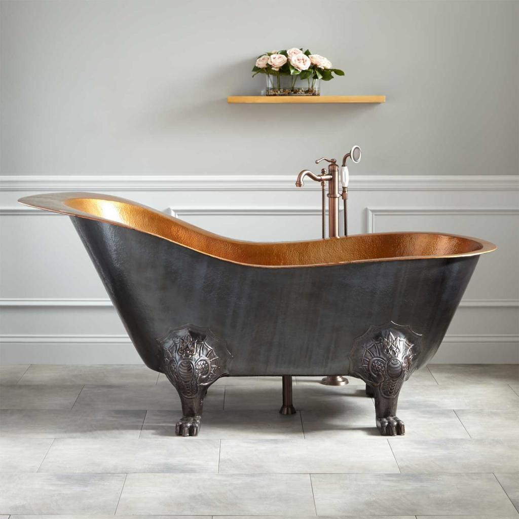 Cute corner freestanding clawfoot bathtubs home inspiring for Copper claw foot tub