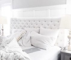 cozy gloss white bedroom furniture with tufted back beds