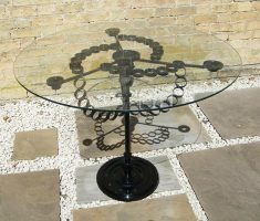 creative recycled metal furniture for glass metal table