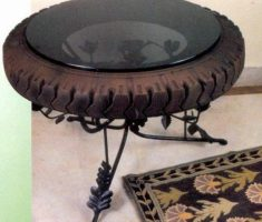 creative table recycled metal furniture from tire