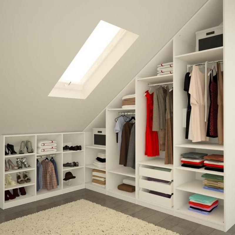 Cute Attic Storage Ideas For Clothes Hanger And Shoe Storage