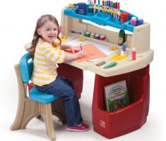 cute children art tables and desks with plastic materials