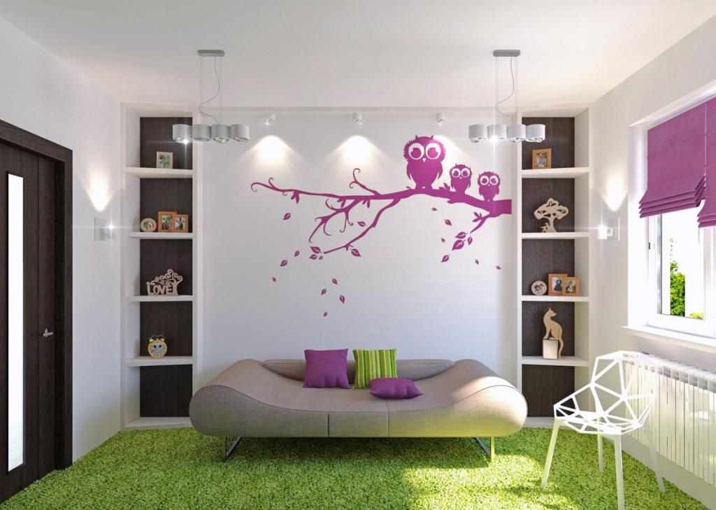 cute-modern-rooms-for-teenage-girls-with-green-grass-rug-floor-and-futuristic-modern-sofa