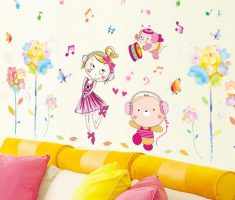 cute cartoons and flowers wall stickers girls bedrooms