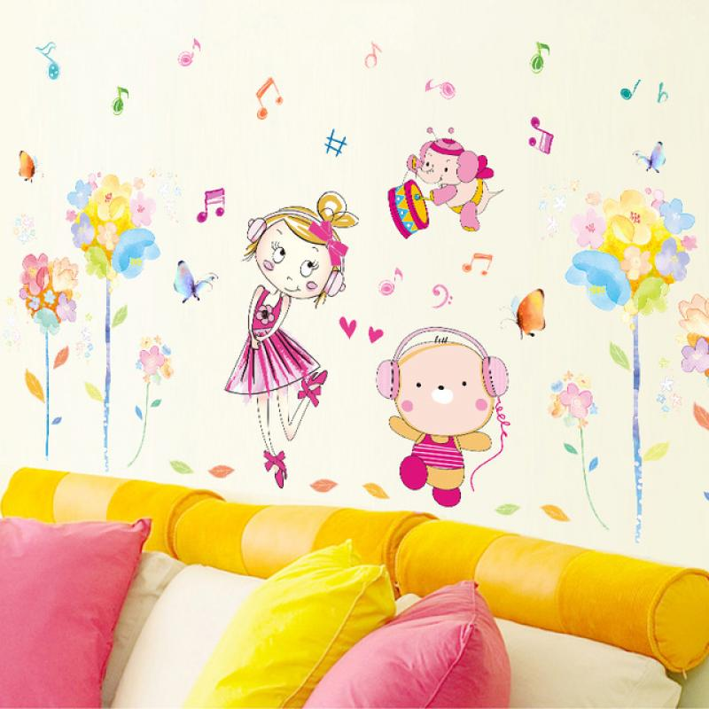 cute-cartoons-and-flowers-wall-stickers-girls-bedrooms