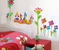 cute floral with cartoon wall stickers girls bedrooms