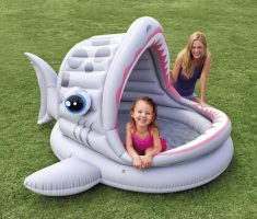 cute inflantable plastic garden pool shark shape