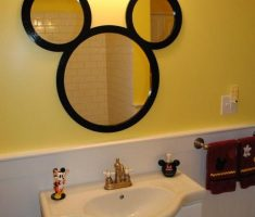 cute mickey mouse mirror for kids bathroom