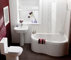 cute modern small bathroom remodelling with small corner tub