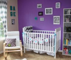 cute nursery purple baby girl rooms besid racks cabinet and purple wall theme colors