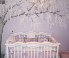 cute purple baby girl rooms with tree wallpaper decor