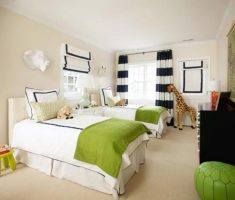 cute shared kids bedroom whtie green colors