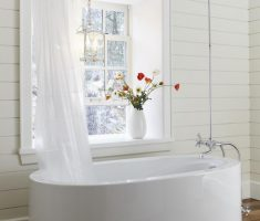 cute small freestanding bathtubs with shower with minimalist decor
