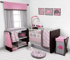 cute small nursery baby girl rooms grey and pink theme colors