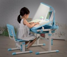 cute white blue children art tables and desks with lighting