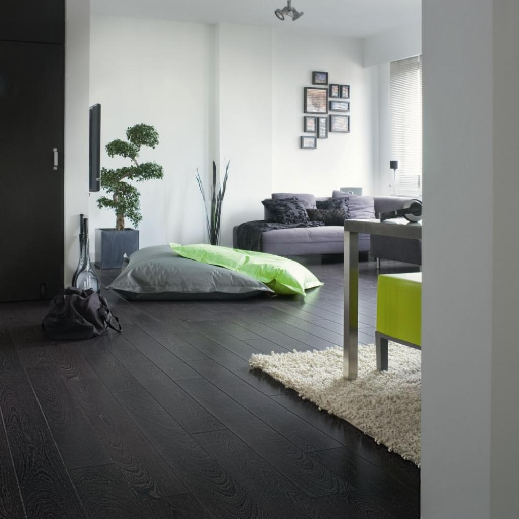 Dark grey laminate flooring for modern living room home for Cheap flooring ideas for living room