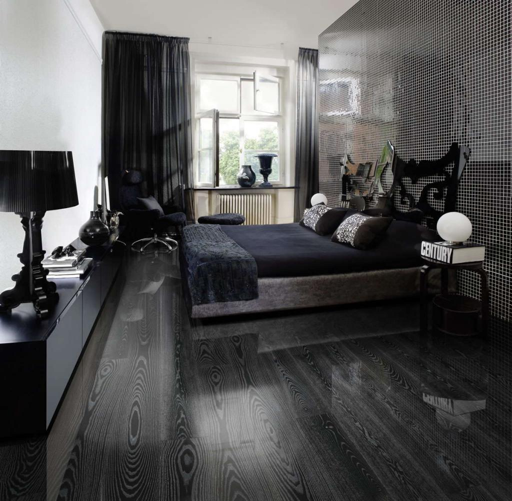 Dark grey laminate flooring for modern masculine men bedroom for Bedroom ideas dark wood floor
