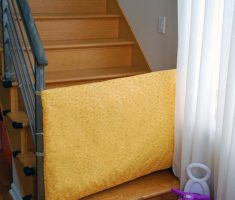 diy baby gates for stairs with fabric yellow material
