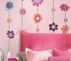 diy flowers wall stickers girls bedrooms pink theme