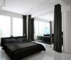 elegant black bedroom decorating ideas for men with black and white theme colors
