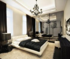 elegant black and white bedroom with white rug and furniture