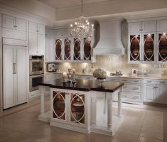elegant kitchen cabinet designs with glass white colors