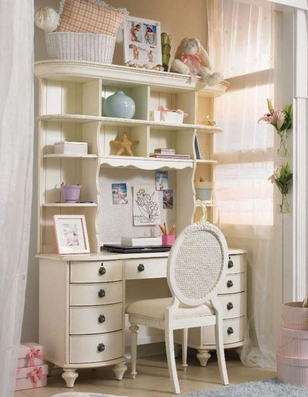 Elegant study table with drawers for girls white bedroom for Elegant white bedroom furniture