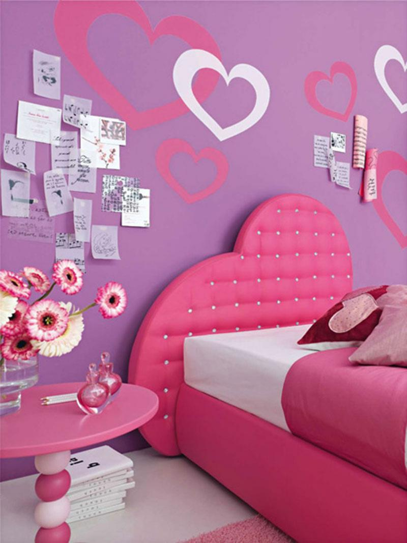 Elegant Wall Stickers Girls Bedrooms With Hearth Shapes