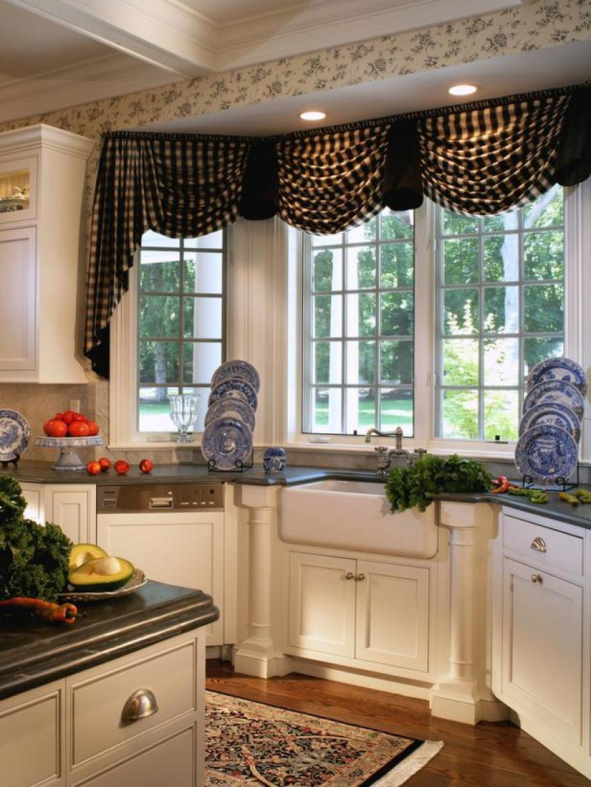 Elegant black valance kitchen window treatment ideas Elegant window treatment ideas