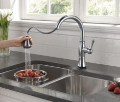 elegant chrome lux delta kitchen faucets pull down with sprayer