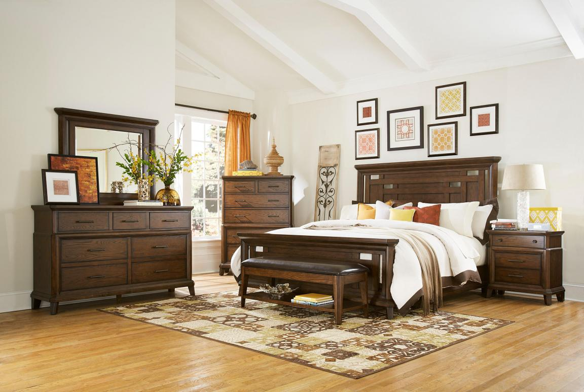 elegant-dark-wood-broyhill-bedroom-furniture-with-ottoman