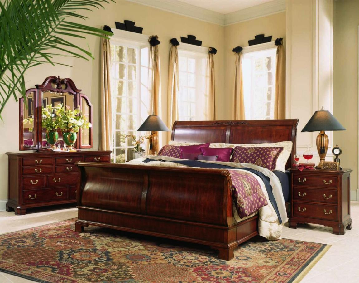 elegant-red-wood-broyhill-bedroom-furniture