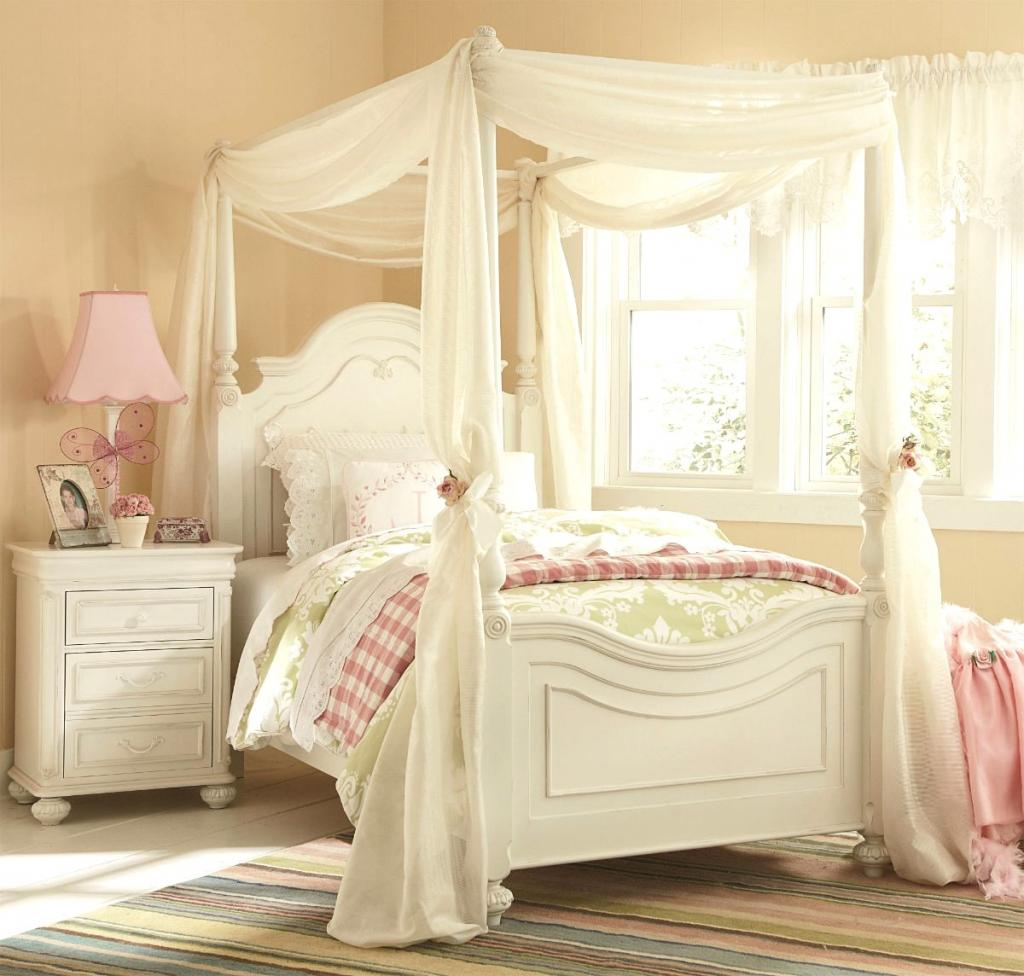 Enchanting girls white bedroom furniture with whtie curtain canopy bedroom for girl home inspiring for Girls bedroom furniture white