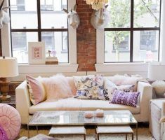 enchanting-small-space-decoration-with-chandelier-and-glass-table-with-furry-rug