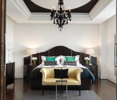 fabulous black and white bedroom with black crystal chandelier for weding couple romantic
